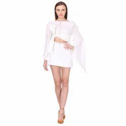 Saniddhya Female Bow Belted White Dress