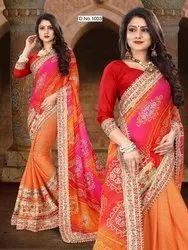 Orange And Pink Vagisha Collection Ladies Wear, Gsm