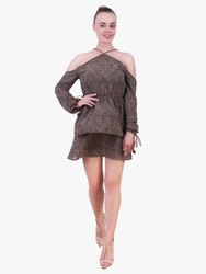 Brown Hared Short Dress