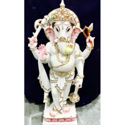 White Marble Ganesh Standing Statues
