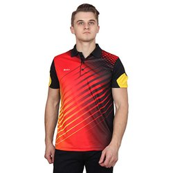 Red Printed Dri Fit Collar Sports T-Shirt