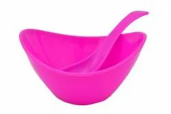 Utensza Microwave Safe Fiber Ship Bowl With Spoon Set - Pink