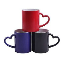 Skymy Red, Blue and Black Heart Shape Handle Mug, Capacity: 350 Ml, for Gift