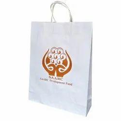 Bleached Kraft Paper Printed White Kraft Paper Bag, Capacity: 5 Kg