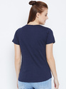 100% Cotton Women's Half Sleeve Navy Blue T-Shirt