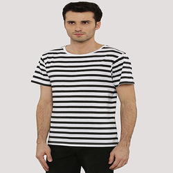 White/black Cotton Striped T-Shirt