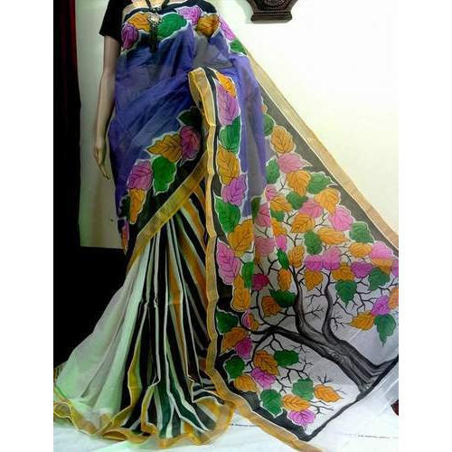 Hand Painted Printed Saree, Length: 6.3 m