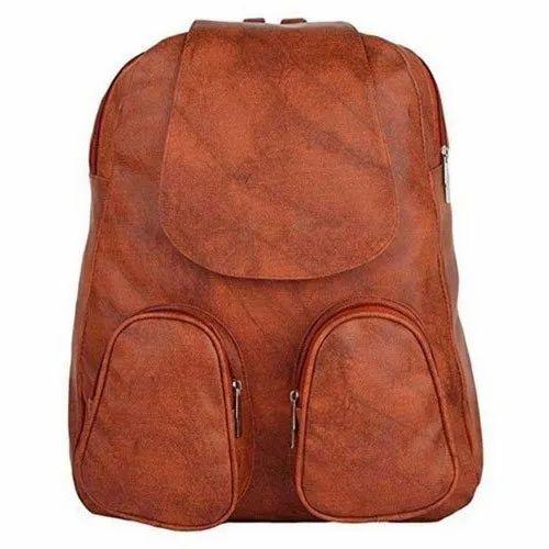 Girls Rexine Brown Backpack