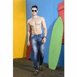 Men Knitting Lycra Blue Denim Jeans, Waist Size: 28-46