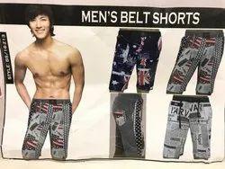 Casual Black Mens Belt Shorts