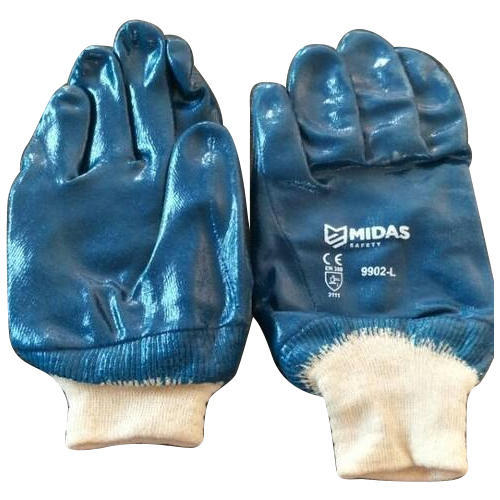 Used Blue Coated Safety Hand Gloves