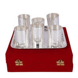 German Silver Set of 6 Glasses with Serving Tray