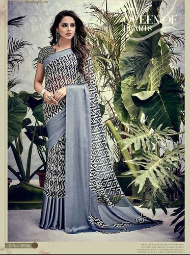 18c9d4f8d Casual Sarees - Black Colored Weightless Satin Patta Printed Saree  Ecommerce Shop   Online Business from Surat