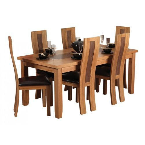 6 High Back Chairs Wooden Dining Table Set