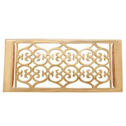 Flower Brass Wall Register with Louver - 6inch x 12inch (7-1/2inch x 13-1/2inch Overall)