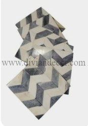 Zigzag Pattern Bone Inlay Coasters