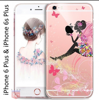 the latest 1b422 ea50e Printed Sitting Girl Holding Apple Diamond Soft Transparent Back Cover For  Iphone 6s Plus