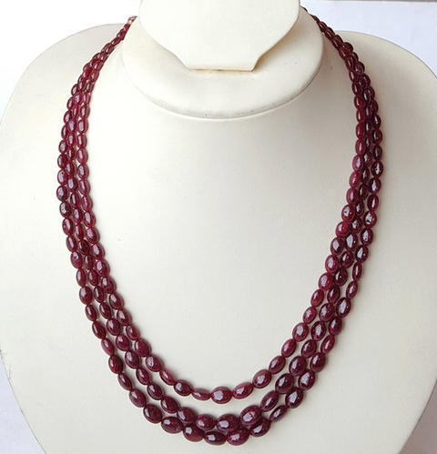 """Charming Natural 8mm Red Ruby Round Beads Gemstone Oval Pendant Necklace 18/"""""""