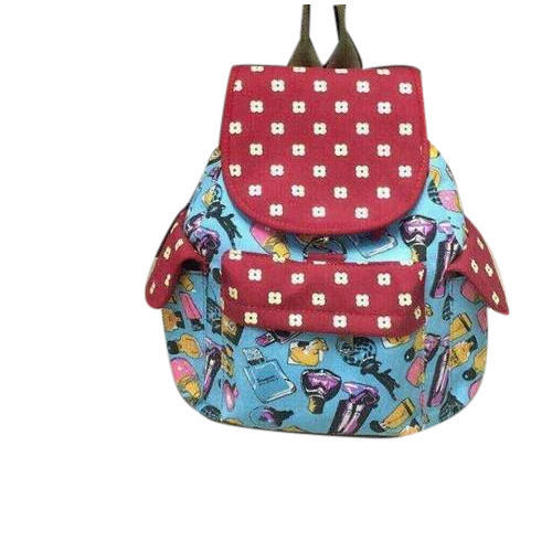 f443978a706e Polyurethane Printed Ladies Cotton Backpack