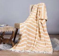 White Striped Design Sofa Throw