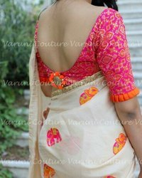 Cotton Embroidery Work Saree, 6.3 m (with blouse piece)