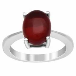 3.00 Ctw Oval Cab Red Onyx Gemstone 925 Sterling Silver Stackable Solitaire Ring