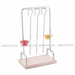 Silver Hanging Kabab Skewer Set - Stainless Steel for Restaurant