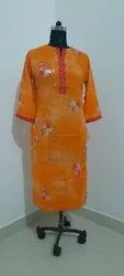 Formal Wear Straight Rayon Printed Long Kurti, Wash Care: Handwash