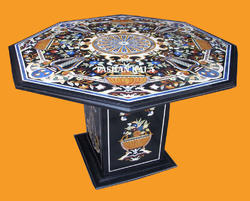 Pashan Kala Marble Inlay Dining Table