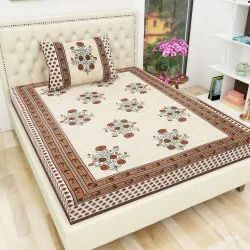 Cotton TC120 Jaipuri Floral Print Single Bedsheet with One Pillow Cover