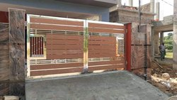 Stainless Steel Wooden Main Gate