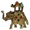 Brass Elephant Handmade Multi Stone Work Figurine