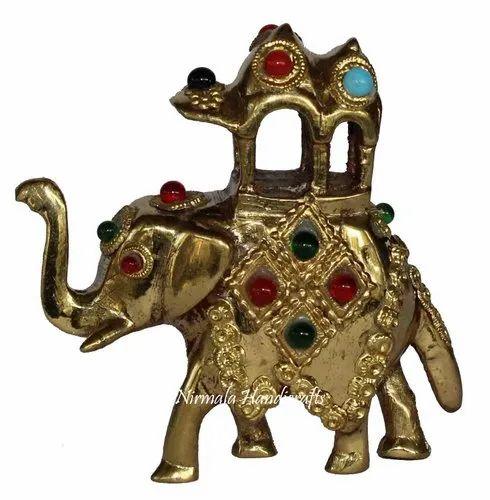 Brass Elephant Handmade Multi Stone Work Figurine