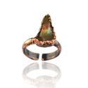 Fire Opal Rough Gemstone Electroformed Rings