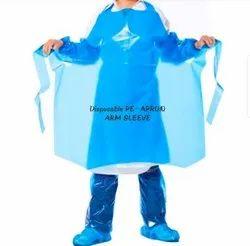 Blue Plain Disposable PE Plastic Apron, For Safety Purpose, Size: Free Size