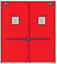 Emergency Exit Doors (Double Leaf With Glass Panel)