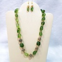 Cl Code Tourmaline& Ad Ball Single Line Contemporary Fashion Jewellery Necklace & Earrings Set