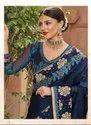 Navy Blue Embroidered Silk Saree