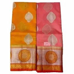 Party Wear Embroidered Pure Silk Saree, 6.3 m (with blouse piece)