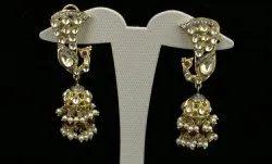 Brass Gold Designer Kundan Earring