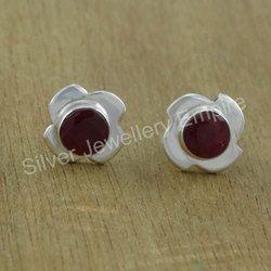 Ruby Gemstone Jewelry 925 Silver Stud Earring