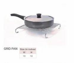 Silver Stainless Steel Grid Pan, Rectangular, for Kitchen, Restaurent
