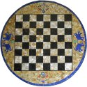 Round Chess Design Marble Inlay Coffee Table Top