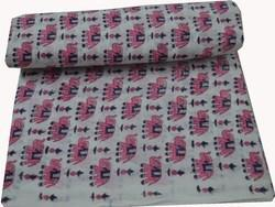 Hand Block 100 % Cotton Fabric Jaipuri Elephant Print