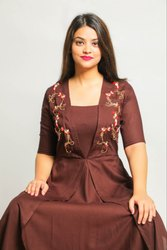 2 piece Set Coffee Anchor Thread Work Double Layer Gown
