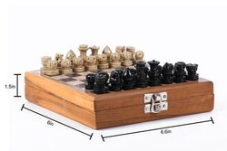 Wooden & Stone Handmade Chess Board