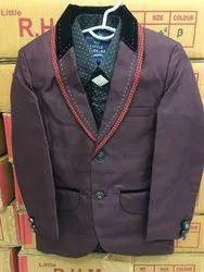 Maroon Cotton Boys Party Wear Full Suit