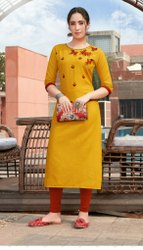 Ladies Ruby Silk Embroidered Kurti