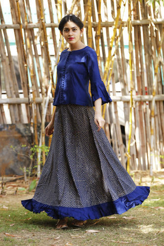 c26524d01a Cotton Gold Print Skirt With Rayon Crop Top, Rs 580 /piece | ID ...