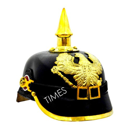 05dc73b7c8 Times Creation Leather & Brass Medieval German Pickel Haube Helmet ...